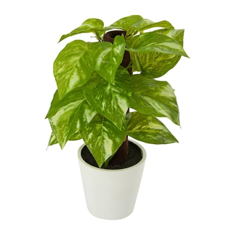 """9"""" Pothos Artificial Plant in White Planter (Real Touch) - 3"""""""