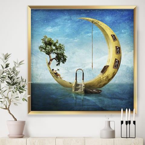 Designart 'Home Sweet Moon' Modern & Contemporary Framed Art Print