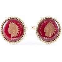 Indian Head Penny Coin Collector Cufflinks - Hand Painted