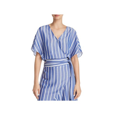 Lucy Paris Womens Sophie Wrap Top Striped Angel Sleeves
