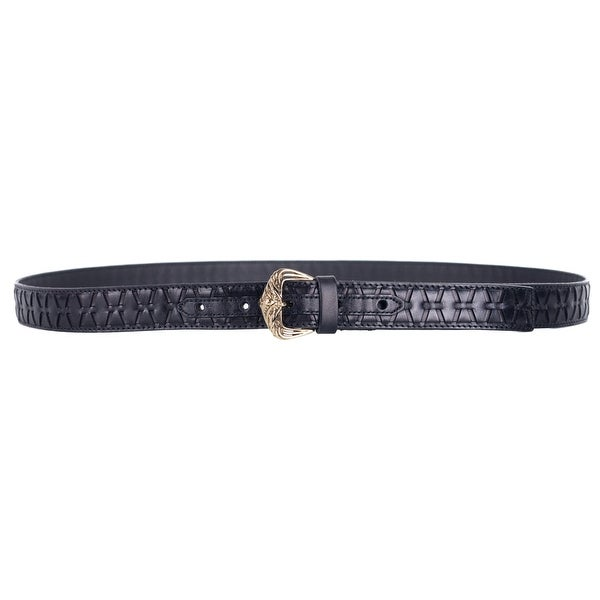 Roberto Cavalli Womens Black Leather Parallel Laser Cut Out Belts