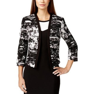 Nine West Womens Barcelona Cropped Jacket Textured Printed