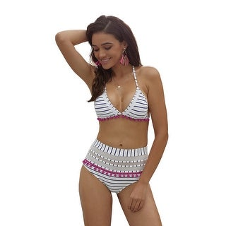Cali Chic Women's Swimwear Two Piece Swimsuit Celebrity Blue White Stripe Pom Mesh Insert High Waist Bikini