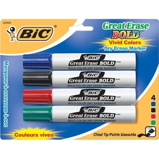 BIC Great Erase Bold Non-Toxic Dry Erase Marker, Chisel Tip, Assorted Color, Pack of 4