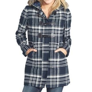 BP. NEW Blue Women's Size Medium M Plaid Print Faux Fur Trim Coat