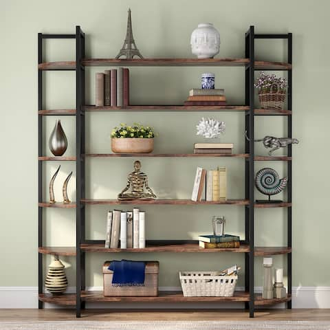 Modern Triple Wide 6-Shelf Bookcase,Large Etagere Bookshelves and Double Wide Bookshelf Display Shelves