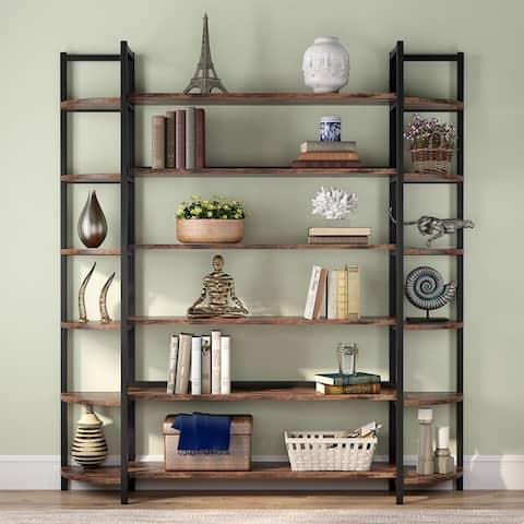 Modern Triple Wide 6-Shelf Bookcase,Large Etagere Bookshelves and Double Wide Bookshelf Display Shelves