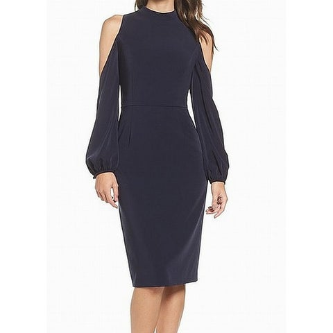 Maggy London Navy Cold-Shoulder Crewneck Midi Sheath Dress