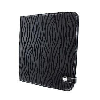 Metallic Black Zebra Striped iPad Cover/Stand