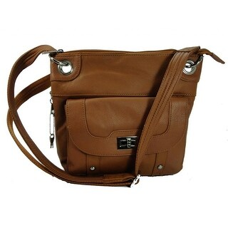 Concealed Carry Cross Body Leather Gun Purse with Locking Zipper Light Brown - Light brown