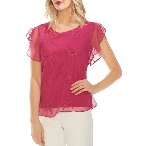 Vince Camuto Womens Pullover Top Eyelet Embroidered