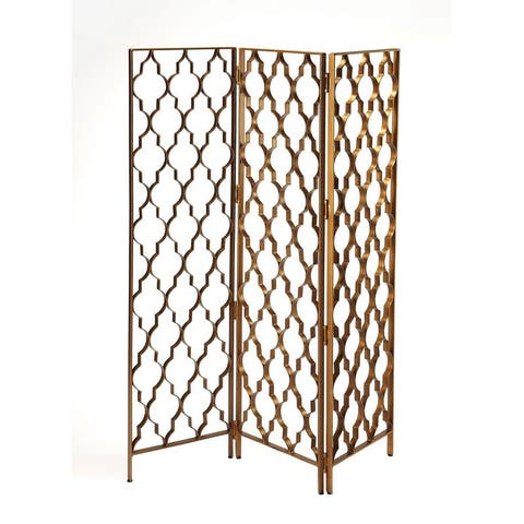Offex Vala Iron Antique Gold Distressed Screen Divider
