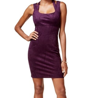 Guess NEW Plum Purple Womens Size 6 Faux-Suede Cut-Out Sheath Dress
