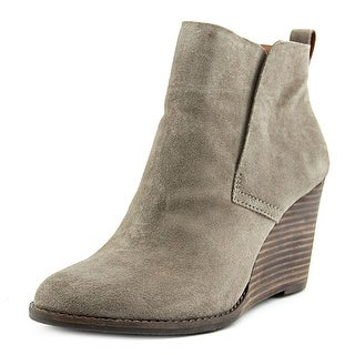 Lucky Brand Yameena Women Round Toe Leather Gray Ankle Boot