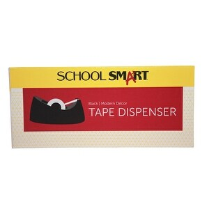 School Smart Weighted Modern Decor Tape Dispenser with 1 in Core, 1/2 - 3/4 W in Tape, Black
