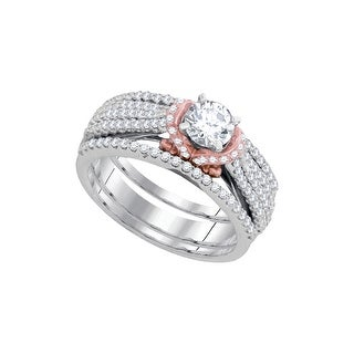 10k White Gold Round Natural Diamond Womens Rose-tone Wedding Bridal 3-Piece Ring Set 1/7 Cttw
