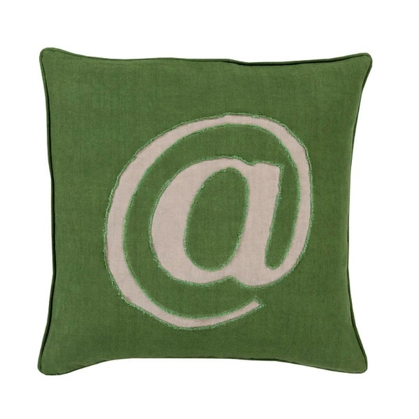 "22"" Forest Green and Ash Gray Trending ""@"" Novelty Throw Pillow"
