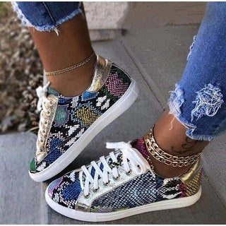 Link to Snakeskin Star Design Lace-Up Sneakers Similar Items in Intimates