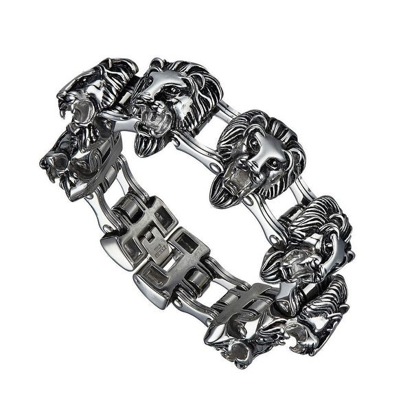 Stainless Steel Lion Face Link Bracelet Animal Charm Links Custom Style 29 MM