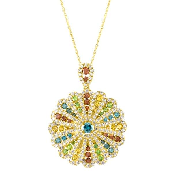 Luxurious Pendant With 3.00 Carat Multi Color Diamond & White Diamond - White H-I