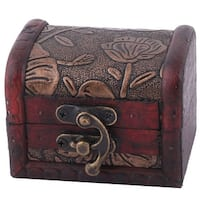 Wedding Wood Flower Pattern Jewelry Candy Locked Box Storage Organizer Dark Red