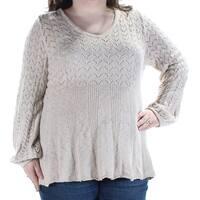Womens Beige Long Sleeve Jewel Neck Sweater  Size  XXL
