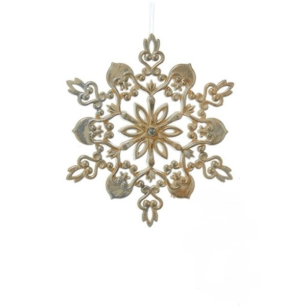 "5"" Decorative Gold and Silver Flower Snowflake Hanging Christmas Ornament"