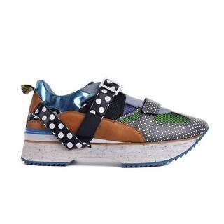 Dolce&Gabbana Mens Navy Buckle Polka Dot Leather Platform Sneakers