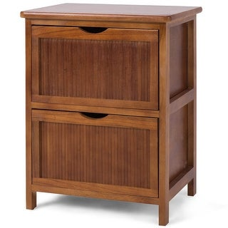 Costway 2 Drawers Nightstand Contemporary Vintage Bedside Table Solid Wood End table - as pic