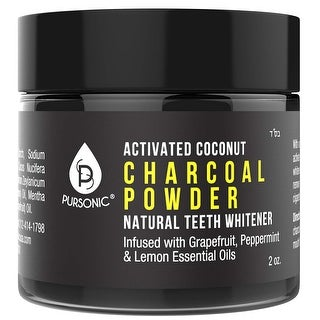 Pursonic CPTW2 Natural Teeth Whitening Charcoal Powder, Infused With Grapefruit, Peppermint & Lemon Essential Oils, 2oz
