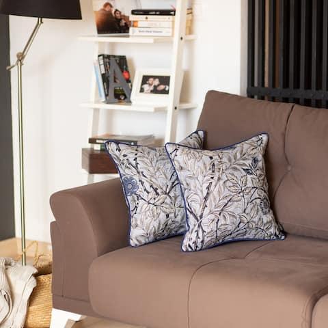 Jacquard Blue Leaf Decorative Throw Pillow Cover