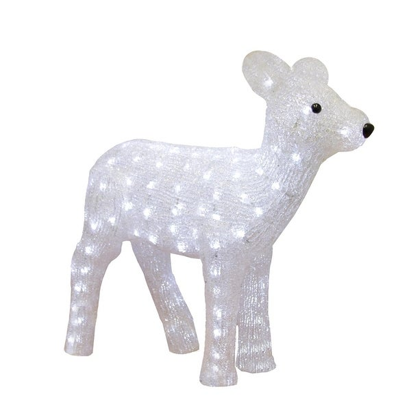 """19"""" Pre-lit Commercial Grade Acrylic Baby Reindeer Christmas Outdoor Decoration - WHITE"""