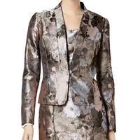 Kasper Gray Women's Size 6 Antique Petal-Print Blazer Jacket