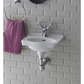 Bissonnet LO944 Wall-Mount Ceramic Sink with Overflow and One Faucet Hole