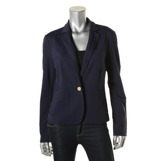 Lauren Ralph Lauren Womens One-Button Blazer Textured Notch Lapel