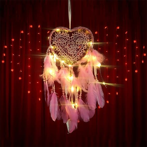 60cm Handmade Creative Dream Catcher Hollow Heart Shape Home Decoration Hanging Ornament with LED Light