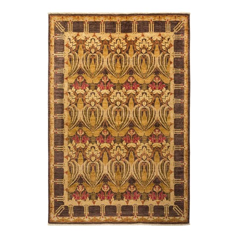 """Arts & Crafts, One-of-a-Kind Hand-Knotted Area Rug - Brown, 5' 10"""" x 8' 0"""" - 5' 10"""" x 8' 0"""""""