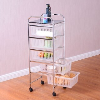 Costway 5 Tier Storage Trolley Rolling Cart Rack Basket Shelf Home Kitchen Bathroom