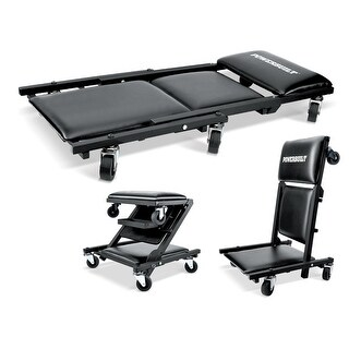 Powerbuilt 3-In-1 40-Inch Floor Creeper, Garage Creeper and Rolling Seat, 640981