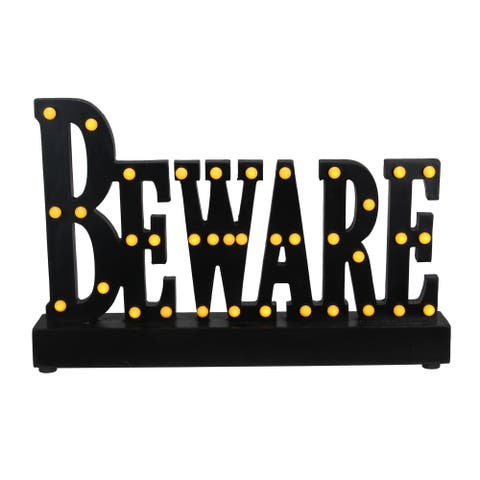 "14"" Black and Orange ""Beware"" Sign with LED Lights Tabletop - N/A"