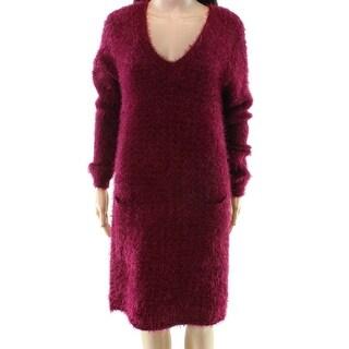 HYFVE NEW Red Women's Size Large L Eyelash Knit V-Neck Sweater Dress