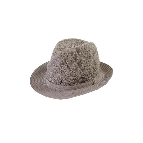 Collection Xiix Grey Textured Expansion Fedora Hat OS