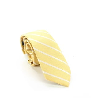 Bar III Yellow Cashel Striped Men's Skinny Silk Blend Neck Tie
