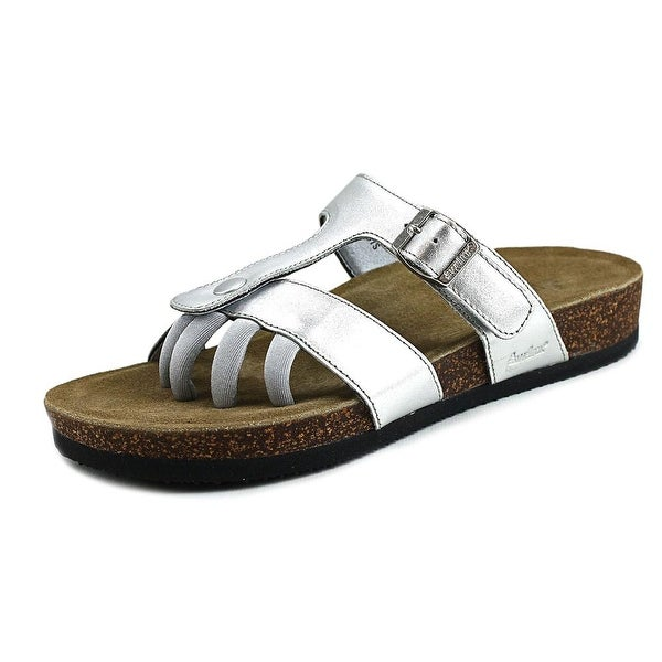 Wellrox Sedona Women  Open Toe Leather Silver Slides Sandal