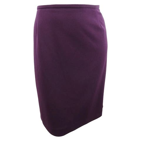 Calvin Klein Women's Plus Size Scuba Crepe Pencil Skirt - Aubergine