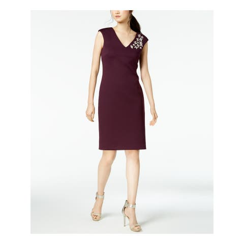 CALVIN KLEIN Purple Sleeveless Above The Knee Sheath Dress Size 10