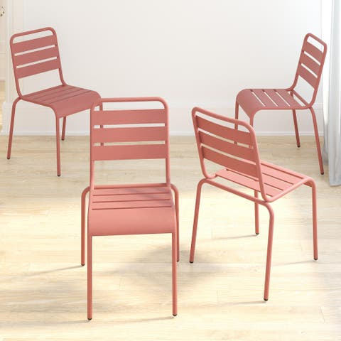 Novogratz Poolside Gossip Collection June Stacking Dining Chairs (4 Pack)