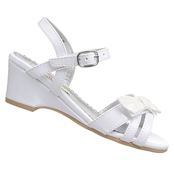 Shop Rachel Shoes Little Girls White Bow Accent Strappy Wedge ... a4f613e9c045