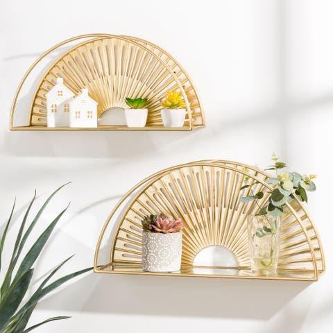 Glitzhome Set of 2 Modern Gold Fan shaped Wall Shelf With Mirror Base