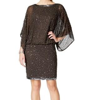 J Kara NEW Gray Women's Size 8 Embellished Illusion Blouson Dress